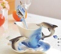 Free Shio Coffee Cup Novelty Enamel Porcelain Dolphin Cup Set Sky Blue Ceramic Cup Coffee Mug