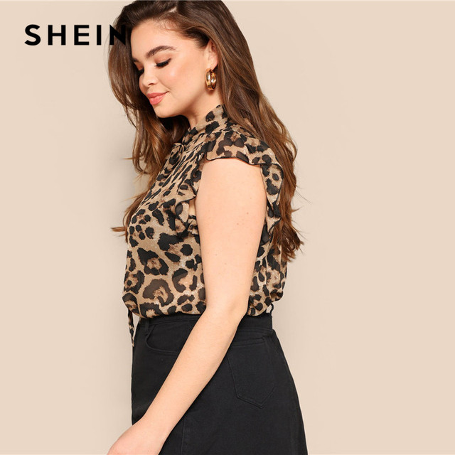 SHEIN Plus Size Women Blouses Tied Neck Sexy Leopard Print Sheer Sleeveless Blouse Ruffle Trim Shoulder Summer Thin Tops Blouses 2