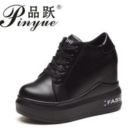 Women Casual Shoes Thick High Heels Increased Internal Wedges Platform Shoes White Black Women Sneakers size 34 39