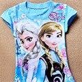 Meninas do bebê Verão T-Shirt Congelado Da Menina Bonito 100% Camisa de Algodão T 30E