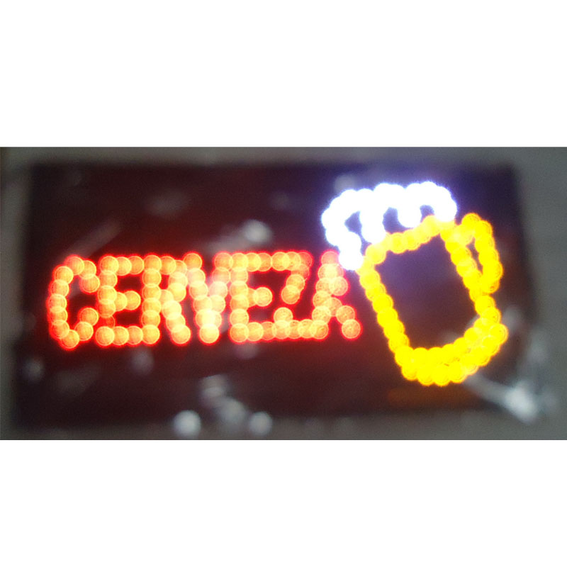 2017 Direct Selling 10X19 inch indoor Ultra Bright flashing customed cerveza/beer store open sign of led-
