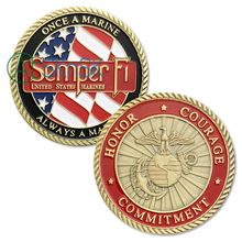 1PCs Sample U.S. Marine Corps Challenge Coins Semper Fidelis Once A Always Honor Courage Commitment USMC Coin
