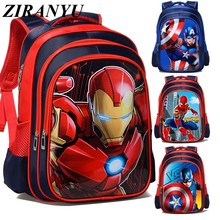 3D Cartoon Iron Man Spiderman Captain America Boy Girl Children Kindergarten School bag Teenager Schoolbags Student Backpacks(China)