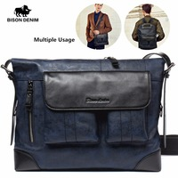 BISON DENIM Brand Designer Genuine Leather Men S Messenger Bags For Men Portable Shoulder Bags Business