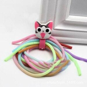 Image 2 - 50 Stuks 60Cm Gradiënt Kleur Effen Tpu Spiraal Usb Charger Cable Koord Protector Wrap Kabelhaspel Voor Iphone Samsung haar Ring