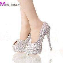 Handgemacht silber diamantene hochzeit schuhe peep toe Plattformen strass prom party schuhe super-high-heel Stilettos brautschuhe