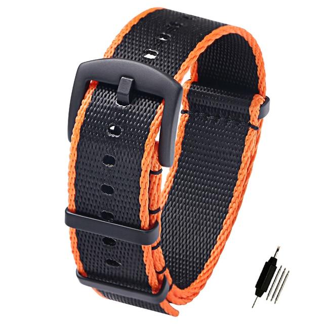 1fd8dcaf0 20mm 22mm Seat Belt Nylon NATO Zulu Strap Military G10 Watch Band Watch  Straps Black/Red Black/Orange Matte Black Buckle
