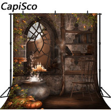 Capisco fotografie achtergrond Magic water tank bezem kaars Halloween achtergrond voor photo studio camera fotografica(China)