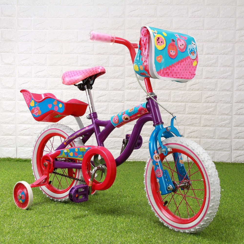 Bike 14'' Super Little Girl Pattern&Dots Kid Bicycle For Girl,Purple&Pink Kids Cycling Bike Student Bicycle+bag