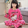 Hot sale Winter 2Piece/Sets Girl Sleepwear Cartoon Lovely Pajamas Pure Fannel Warm Long Sleeve Pijamas Child Home Wear Clothing