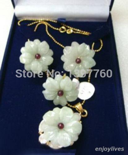 Light Green Natural Jade Flower Golden Pendant Necklace Earrings Ring Set|necklace earring ring sets|earrings ring setnecklace earrings ring - AliExpress
