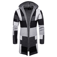 Fashion Men Casual Sweater 2018 Winter Thick coat slim Cardigan Men Hooded Neck Quality Knitted Brand Male Sweaters size M XXL