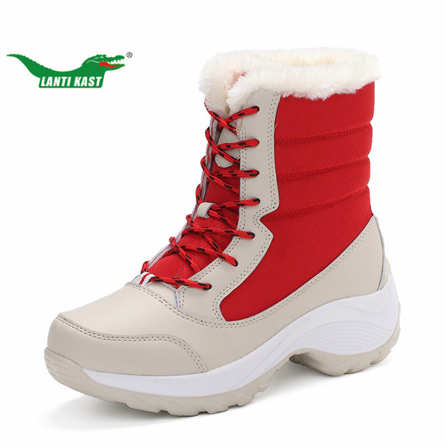 LANTI KAST Winter Women Walking Boots New Arrival Red Thermal High Top Lace Up Sneakers for Women Outdoor Plush Comfortable Boot