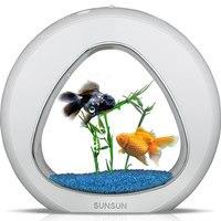 Творческий мини милые Desktop Золотая рыбка Fish Tank высокое Яркость светодиодный освещения с фильтрацией Системы Аэробные Меркурий в воде YA 01