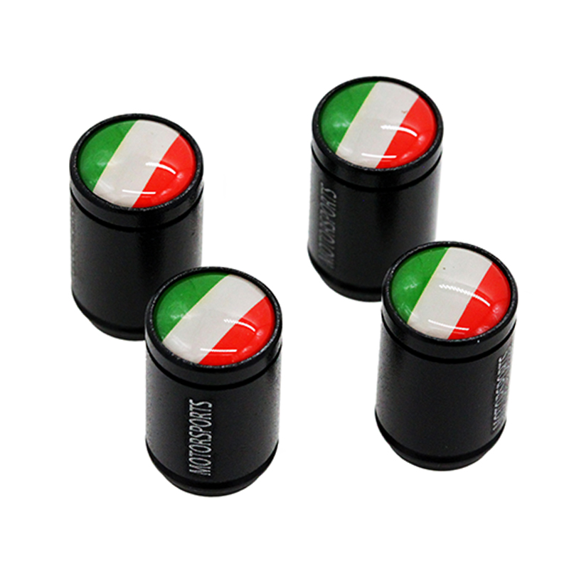 HAUSNN 4Pcs/Set Flag of Italy Sticker Car Valve Caps Wheel Tires Accessories Stem Caps For FIAT Alfa Romeo Ferrari