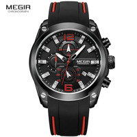 Megir Mens Quartz Analogue Chronograph Watches Sport Military Silicone Bracelete Luminous Hands Date Indicator Wristwatch 2063G