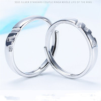 JEWEEN simple design shiny polish stamp s925 couple 92.5 silver ring for lovers, fine rings