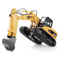 HuiNa Toys 15 Channel 2.4G 1/14 RC Excavator Charging RC Car With Battery RC Alloy Excavator RTR For kids Construction Vehicles