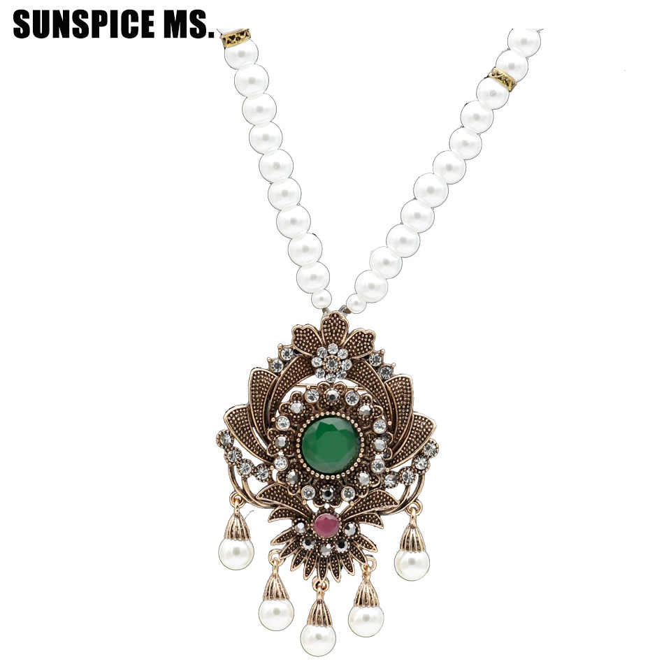 Bohemia Retro Flower Strand Bead Pendant Necklace Set Women Antique Simulated-pearl Chain Morocco Ethnic Wedding Corsage Jewelry