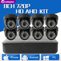 Sistema de CCTV 8CH 720 P AHD DVR Kit Sistema de IR 20 m interior 8 PCS 1.0MP AHD Câmera Dome Home Security Sistema de Vigilância Kits