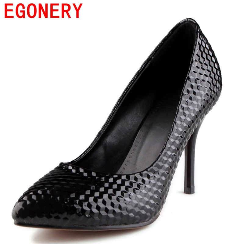 EGONERY shoes 2017 spring and autumn pointed toe pumps concise shallow simple thin high heels zapatos mujer wedding party shoes  choudory high heels woman pumps spring autumn flower decoration woman shoes attractive flock pointed toe party zapatos mujer