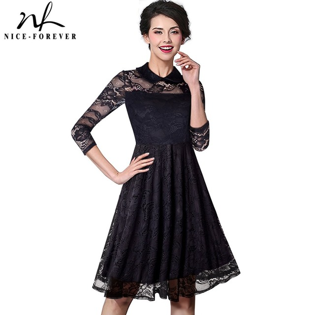 Nice-forever Retro Elegant Flower Hollow out Mesh Lace Turn-down Collar Women 3/4 Sleeve Celebrity A-Line Formal Dress A030