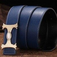 Men's fashion H buckle belt drilled leather belt business lounge belt