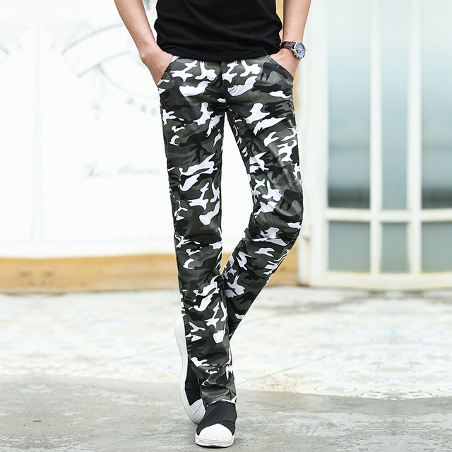 HOT!! Fashion Straight men's pants camouflage military cargo pants Zipper Fly men's trousers