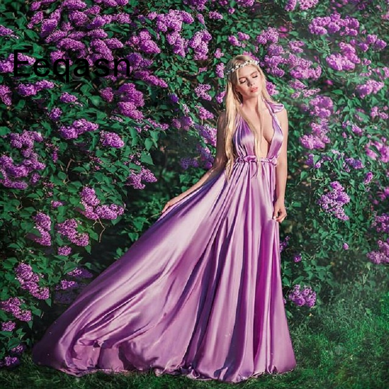 Lilac Evening Dress Long Sexy V Neck Halter A Line Girls Prom Party Dress Formal Pageant Gowns Custom robe soiree