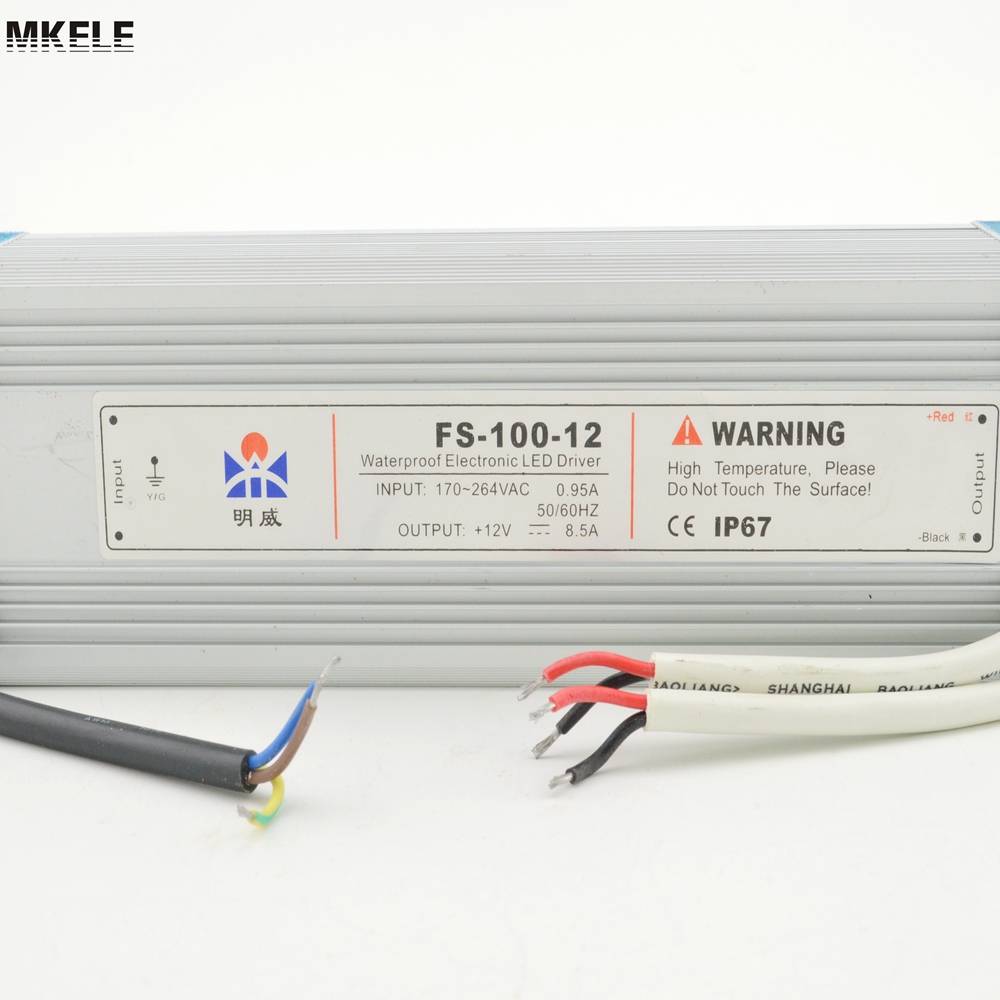 free ship constant voltage LED waterproof 100w led power supply driver 24v 100w FS-100-24 4.5A dc12v 100w ip67 waterproof constant voltage electronic led driver transformer power supply free shipping
