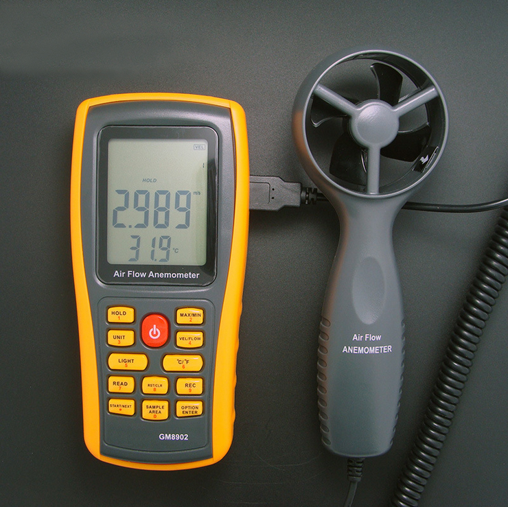 Wind Speed Meter GM8902 Anemometer Wind FLOW Speed GaugeTemperature Measure  Digital Handheld Measuring High Quality