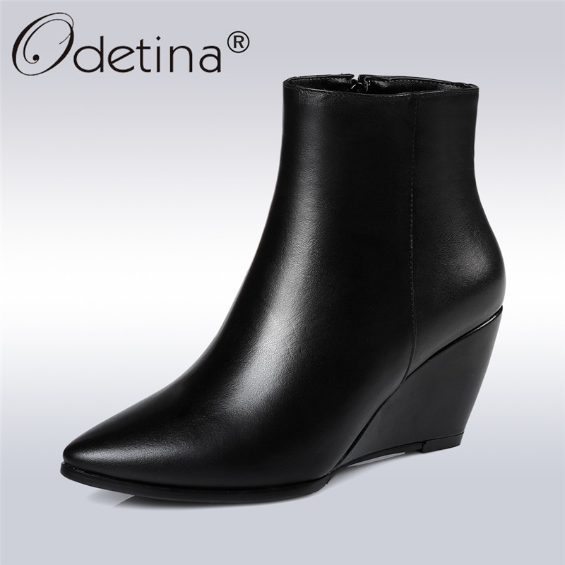 цены  Odetina 2017 New Fashion Women Genuine Leather Wedge Ankle Boots Sexy Pointed Toe Side Zipper Winter Snow Shoes Big Size 31-45