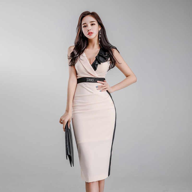 Корейский стиль контрастного цвета лоскутное платье карандаш женское 2019 OL оборками платья с поясом облегающее платье-футляр Vestidos femme