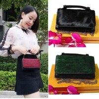 Woman Mini Shoulder Bag Handbag Clutch Crocodile Pattern Horse Hair Geniune Leather Card Holder Office Lady
