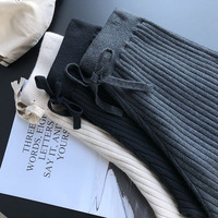 2018 Fall Thick Knitted Wide Leg Pants Women Solid Elastic Casual Loose Trousers Femme Autumn Basic Knitted Pant