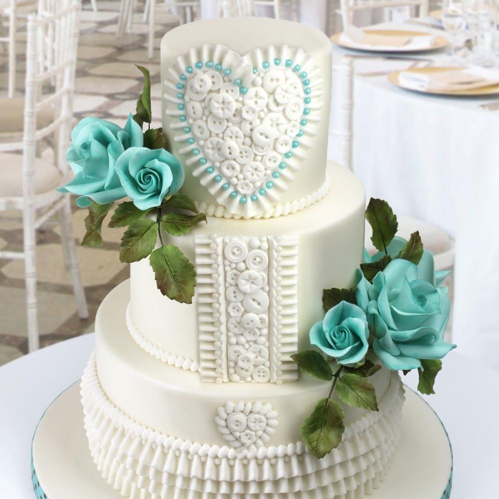 Wedding silicone fondant cake tool button heart flower border sugar ...