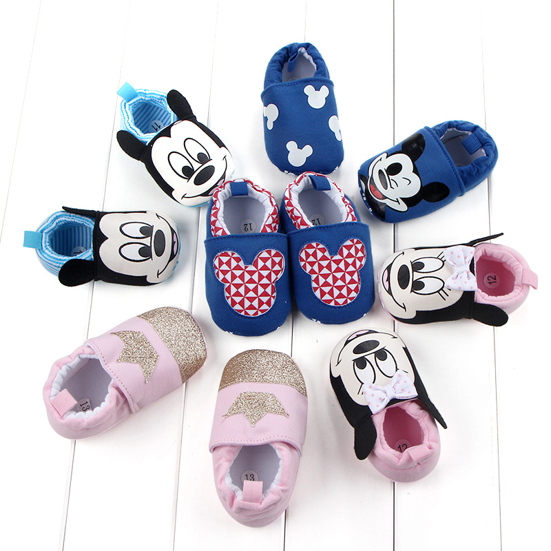 Disney Spring And Autumn Can Not Afford Shoes Cartoon Mickey Baby Shoes Minnie Baby Soft Bottom Cotton Shoes