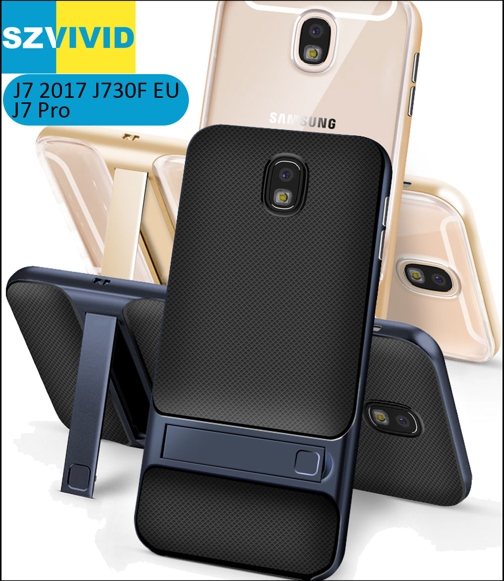 Stand Holder Kickstand Case for Samsung Galaxy J7 2017 J730F Hybrid Slim Armor Protector Clear Transparent Cover J7 Pro