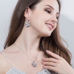Image 2 - CWWZircons Fashion Brand Women Jewelry Beautiful Micro Pave Cubic Zirconia Flower Drop Pendant Necklace And Earrings Set T065