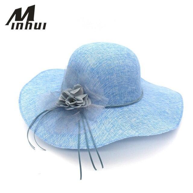 Minhui bowknot sombreros de paja para las mujeres verano moda playa Sun  sombrero Floppy ala ancha 99db4155b3f