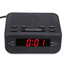 2017 Modern Design Alarm Clock FM Radio with Dual Alarm Buzzer Snooze Sleep Function Compact Digital Red LED Time Display Clocks