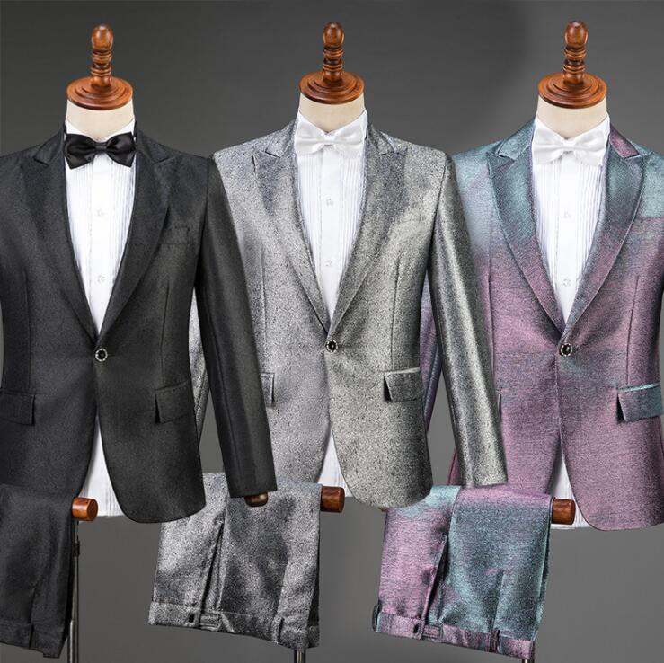 Singer stage men suit set pants mens wedding suits black silver purple new arrival slim formal dress men's groom suit + pant