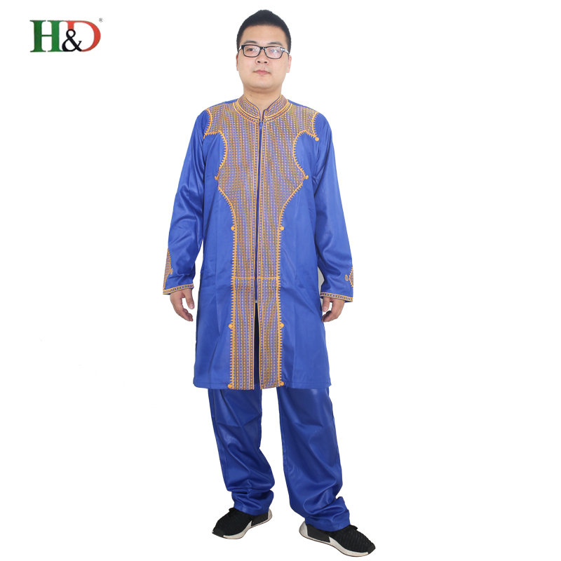 H&D All african sleeve mens traditional clothes Material robe bazin riche africano de bordado hombres camiseta con pantalones
