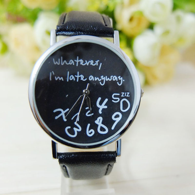 2017 Fashion Women Leather Watch Black Whatever I am Late Anyway Letter Watches Female Clock Dropshipping lovesky 2016 new arrival women pu leather watch who cares i am late anyway letter watches wrist watch free shipping
