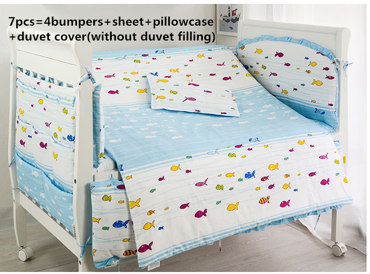 2017! 6/7PCS Baby Bedding Set Cotton Crib Duvet Cover Bedsheet Pillowcase Free Shipping Duvet Cover,120*60/120*70cm