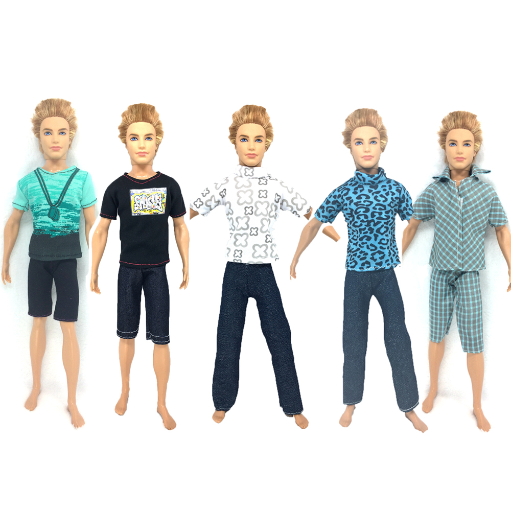 NK 5 Set/Lot Cute Kawaii Baby Toys Beautiful Casual Suits Clothes Tops Pants For Barbie Boy Friend Ken Dolls For Barbie Doll