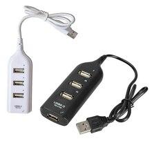 Новое поступление 4 порта USB 2,0 концентратор разъем расширитель адаптер с кабелем зарядки концентратор компьютер аксессуар для лэптопа