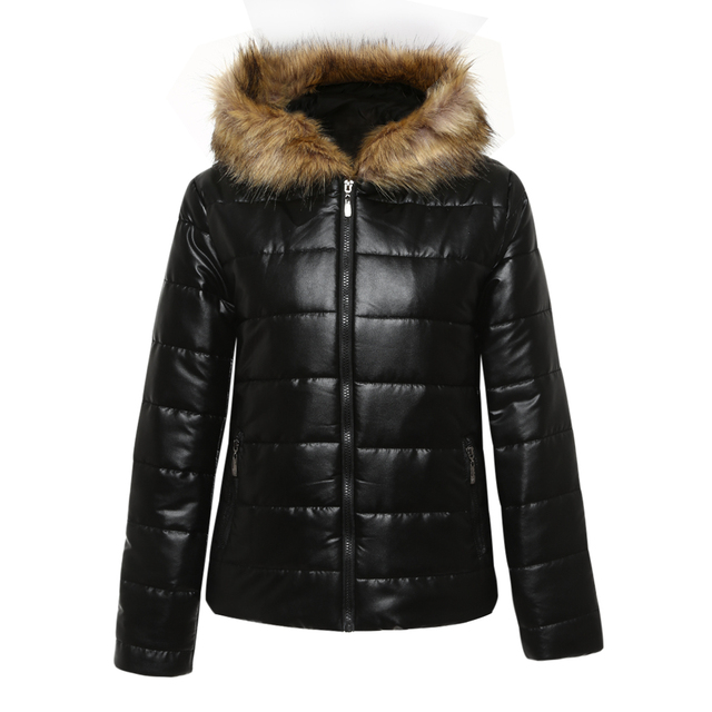 fab9ca49d 2018 Luxury Women Down Jacket Parka Winter Thick Warm Leather Fluffy Faux  Fur Collar Hooded Coat Slim Fit Outwear Black Overcoat