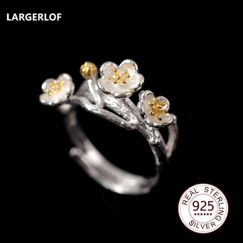 LARGERLOF Real 925 Sterling Silver Jewelry Rings For Women Fashion Women Jewelry Handmade Flower Rings JZ12077