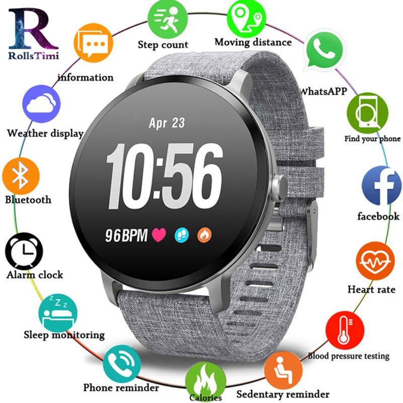 RollsTimi Hot V11 Smart Watch Men Women Waterproof Tempered Glass Activity Fitness Tracker Heart Rate Monitor Sports Smartwatch